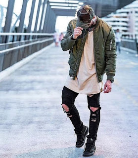 Model Ripped Jeans And Bomber