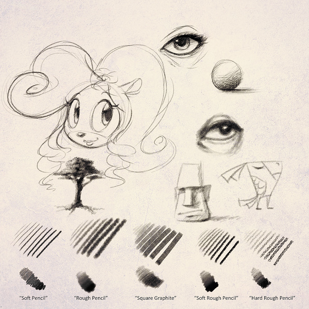 Heres a set of pencil brushes i created for photoshop versions cs3 to cs6 that re create a more traditional sketchy look ive always wanted some decent