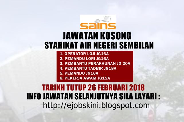 Jawatan Kosong Syarikat Air Negeri Sembilan Sains 17 November 2017
