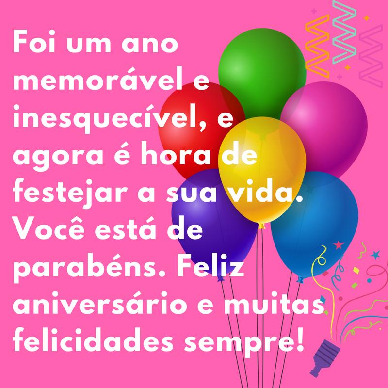 Feliz aniversário e muitas felicidades sempre