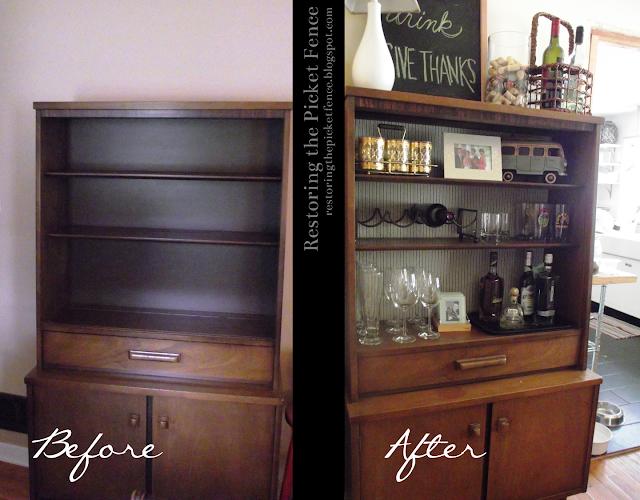 Restoring The Picket Fence Bookcase Bar Makeover