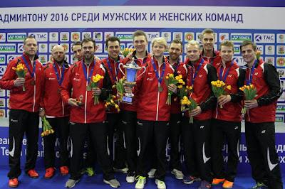 BÁDMINTON - Campeonato de Europa por equipos masculino 2016 (Kazan, Rusia). Dinamarca es la mejor de Europa dedicado a Mogensen, frente a una histórica Francia
