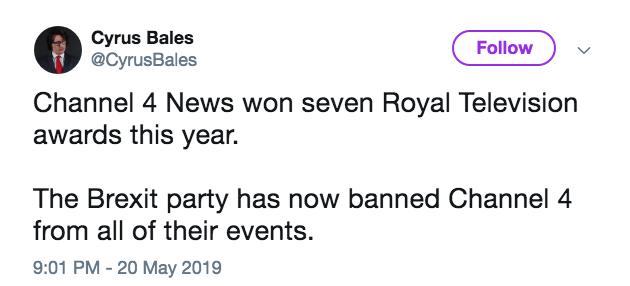 Zelo Street: Brexit Party Bans Channel 4 - Press Silent