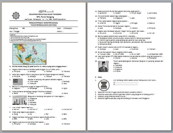 Contoh Soal PTS IPS SMP MTs Kelas 8 Semester 1 (Ganjil) 2017-2018
