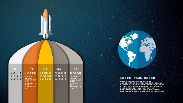Free PowerPoint Template with Rocket Infographics and Earth to the right