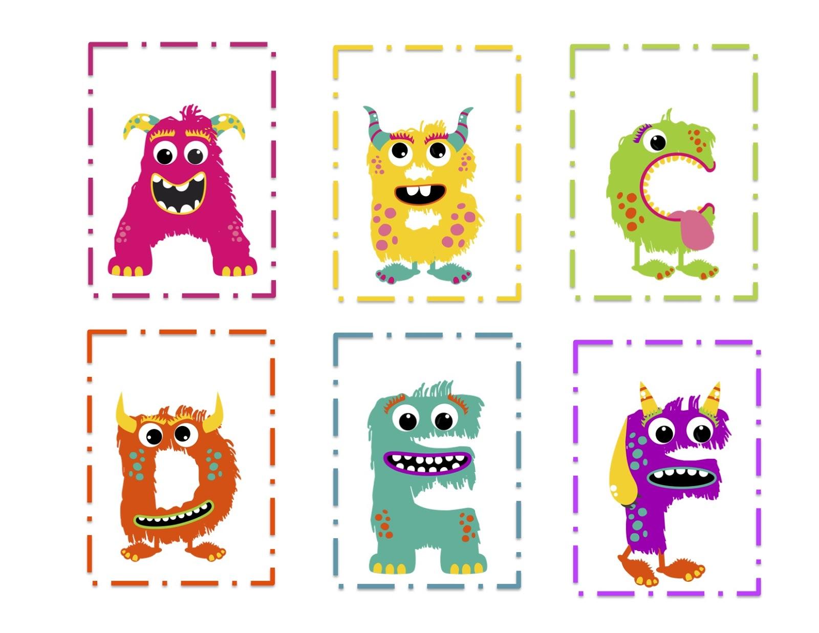 Girl Monster Alphabet Cards Preschool Printables