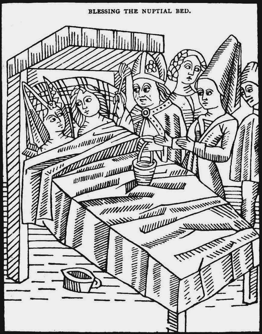 "a 1400's illustration ""Blessing the Nuptial Bed"""