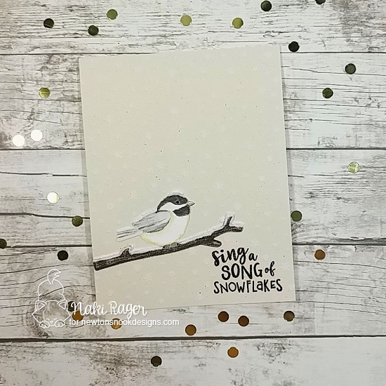 Chickadee Bird Card by Naki Rager | Winter Birds Stamp Set and Petite Snow Stencil by Newton's Nook Designs #newtonsnook #handmade