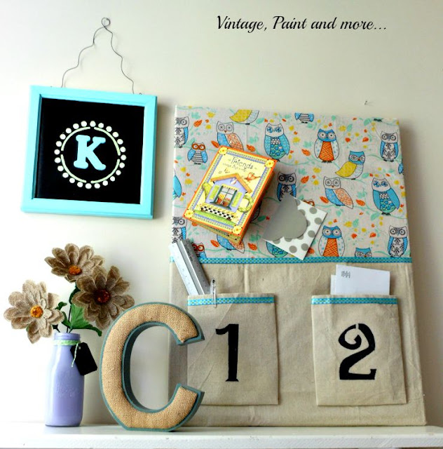 Vintage, Paint and more... DIY Dorm Decor - wall vignette made with a recycled bulletin board, monogram wall art, and milk bottle vase with burlap flowers