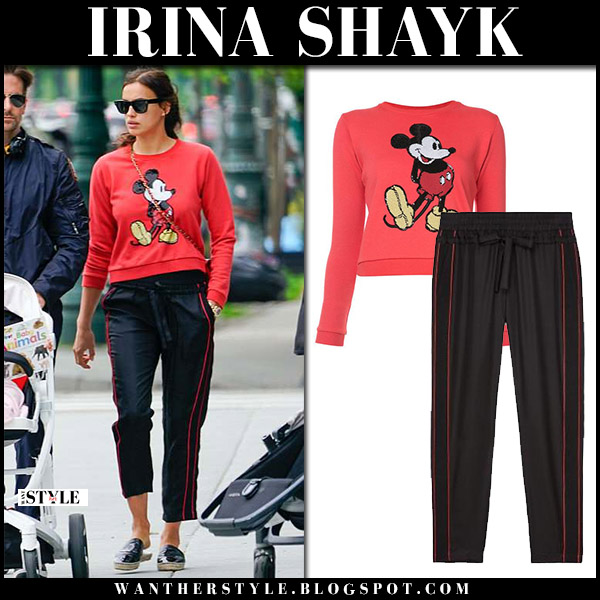 Irina Shayk in red Mickey Mouse sweater and black cropped pants model style may 29