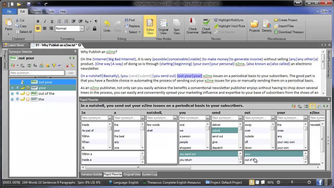 New Soft Version: Chimp Rewriter Version 3.3.5910 Full