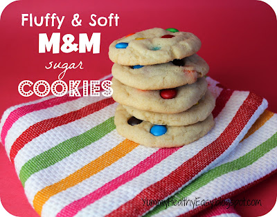 Delicious sugar cookies with M&M's inside