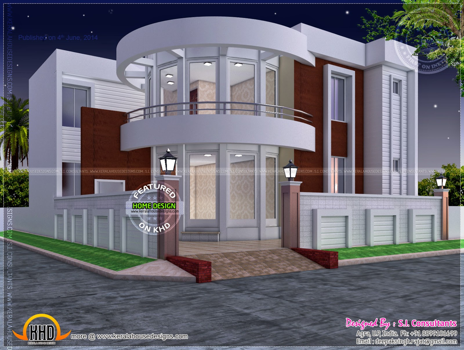 Modern house plan with round design element kerala home for 1 5 floor house plans