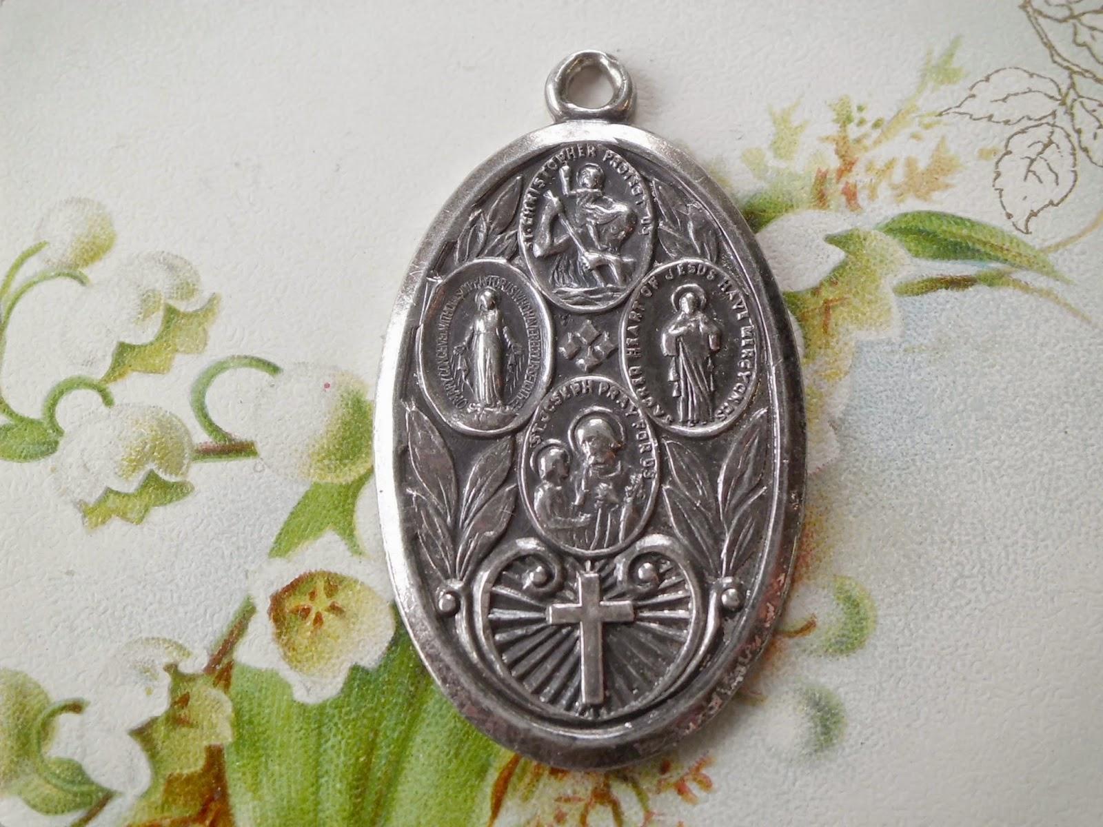 Vintage Religious Medals: LARGE Vintage Sterling 4 Way
