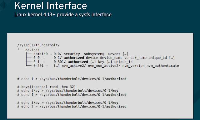 Pseudo file system sysfs a partir do kernel 4.13 e que é utilizado pelo Thunderbolt