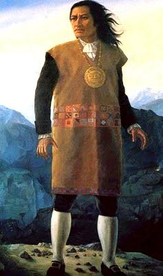 Ilustración de Túpac Amaru II parado a color