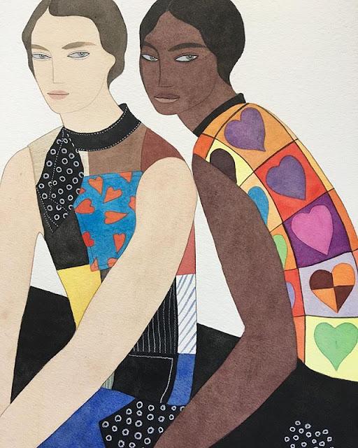 Kelly Beeman arte | dibujo en acuarela de mujeres elegante en vestidos fashionistas