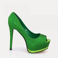 Pantofi dama verzi cu sclipici ( )