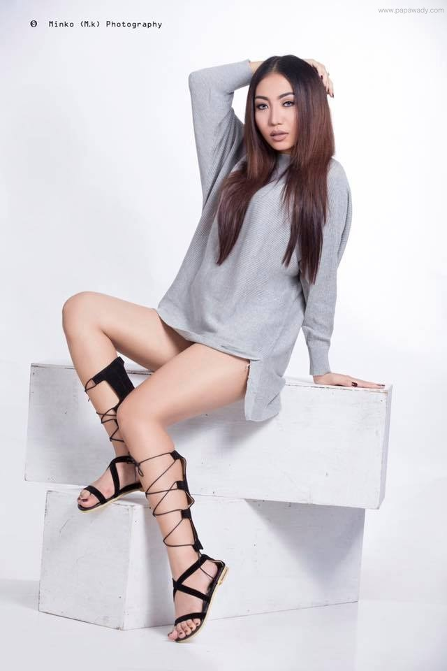 Khin Injinn Kyaw New Studio Fashion Photoshoot Showing Her Legs