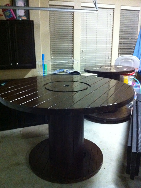 exciting cable spool kitchen table | Amici Bello: DIY Cable Spool Tables!