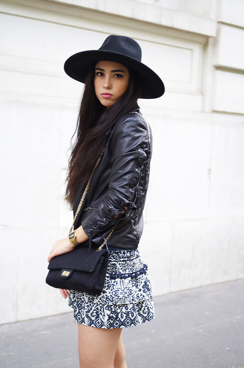 Elizabeth l Bohemian outfit l leather jacket American Retro Hat Chanel bag Vans Casio Zara l THEDEETSONE l http://thedeetsone.blogspot.fr