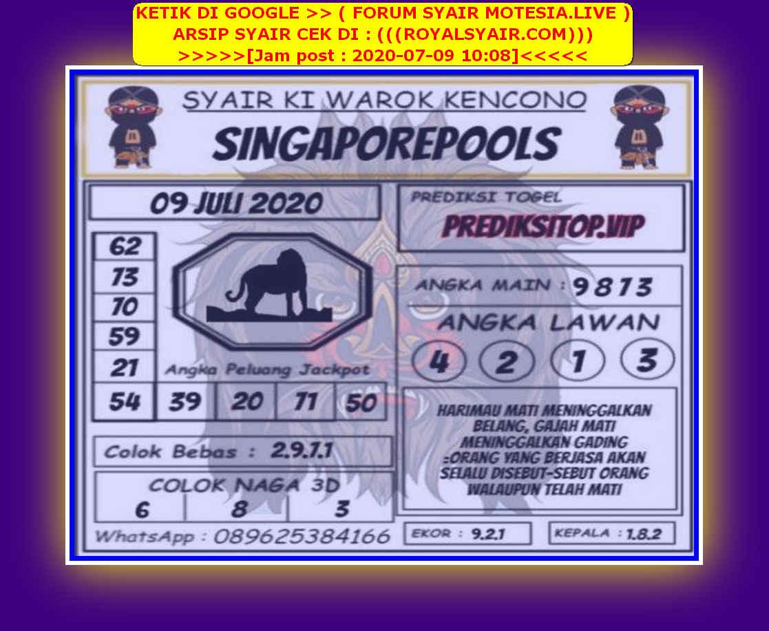Kode syair Singapore Kamis 9 Juli 2020 159