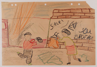 A child's drawing of looters.