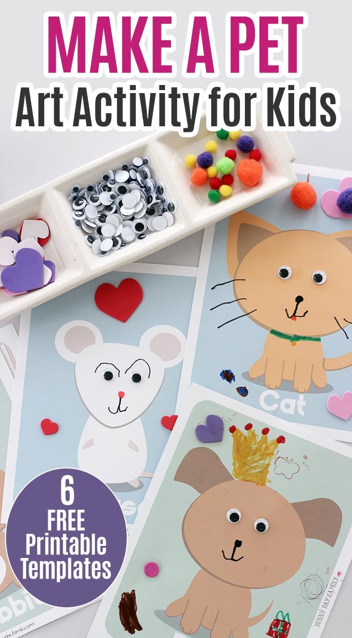 Create your own pets with this fun art activity for kids! Includes 6 free printable templates to make a dog, cat, rabbit, mouse, lizard, and bird. Kids will love this fun pet craft project - it's perfect for a pets preschool theme or be kind to animals week! #kidsactivities #freeprintables #kidscraft #preschool #pettheme