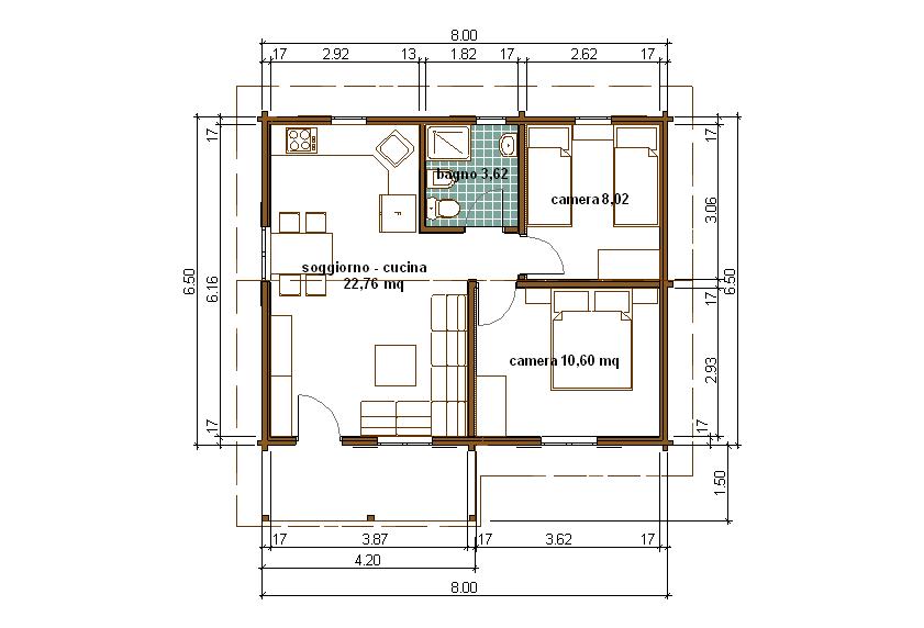 Progetti di case in legno casa 50 mq terrazza coperta 6 mq for Progetti per ristrutturare casa