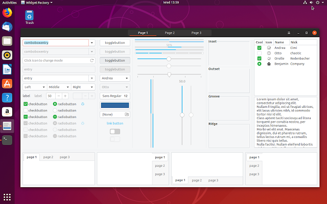 Ubuntu 18.10 Yaru Gtk theme widgets