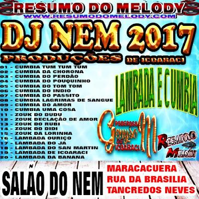 CD DE LAMBADA E CUMBIA DJ NEM 2017 RESUMO DO MELODY