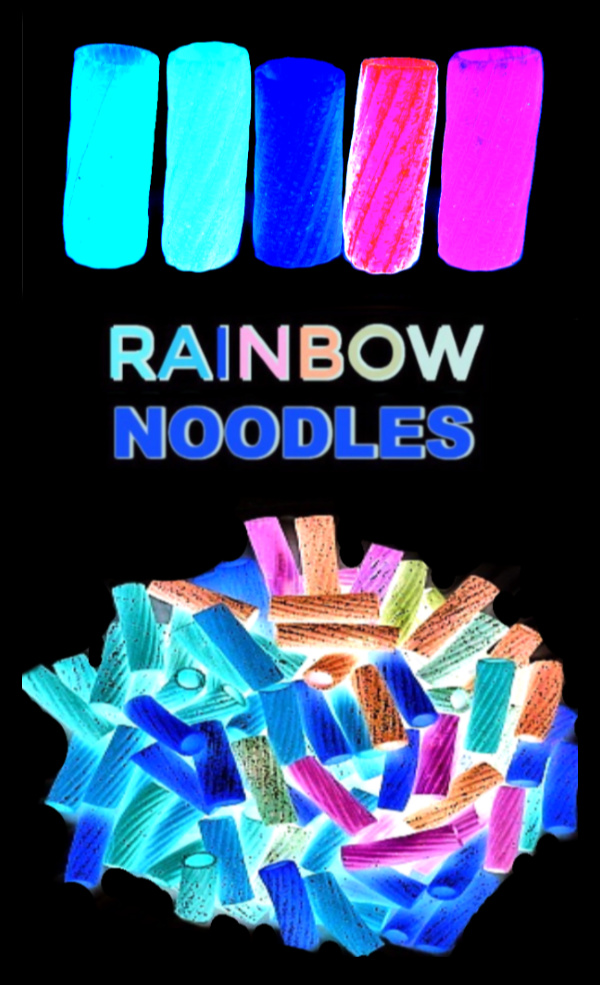 Make glow-in-the-dark rainbow noodles for kids arts, crafts, and sensory play activities.  The recipe is easy, and kids will find tons of ways to play!  #glowingrainbownoodles #noodlenecklacesforkids #glowinthedarknoodlenecklace #pastanecklacecraftkids #rainbowdyednoodles #glowingpastanecklace #rainbownoodles #sensoryactivities #sensorybins #growingajeweledrose