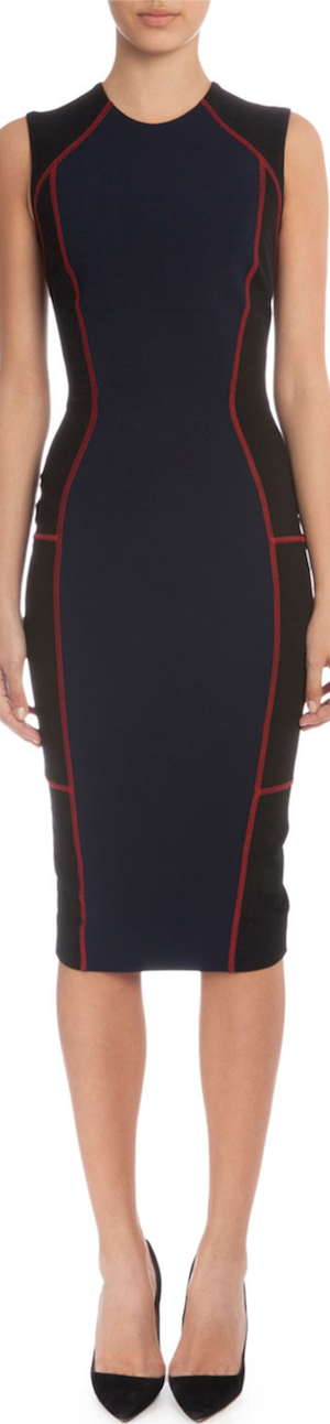 Victoria Beckham Colorblock Sheath Dress W/Contrast Seaming, Navy/Black