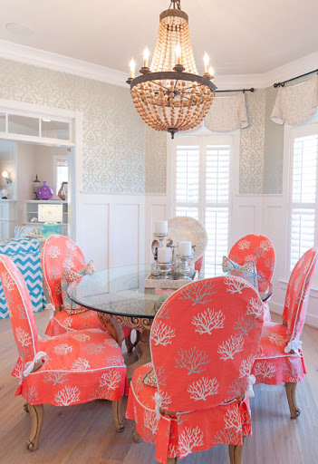 Slipcovers for Dining Room Chair Coral Fabric