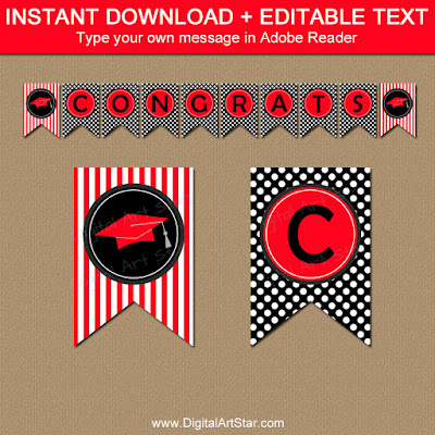 printable high school graduation banner printable in red and black with polka dots and stripes