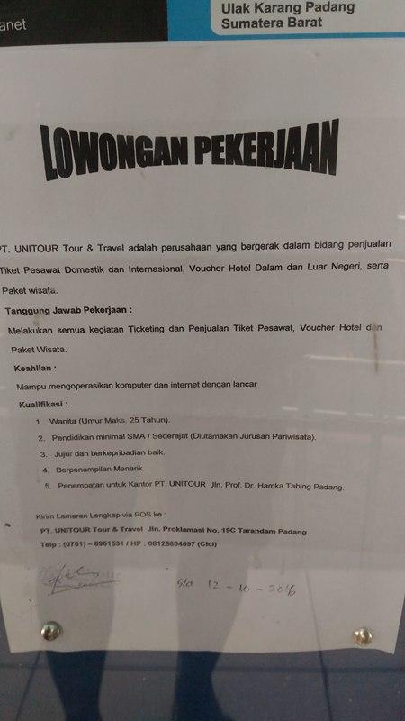 Lowongan Kerja di Padang – PT.Unitour & Travel – karyawati (Closed 12-10-2016)