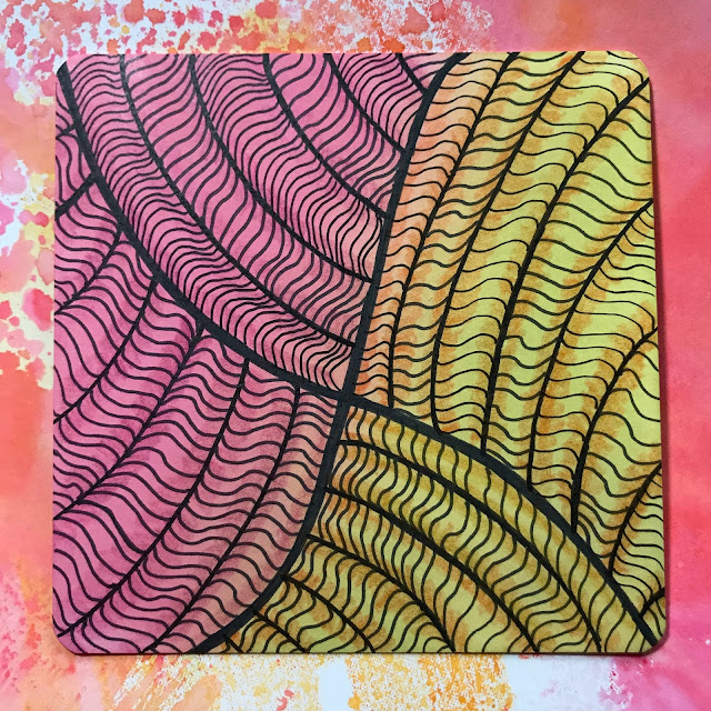 Hahnemühle YouTangle.art Tiles with Ranger Distress Inks and tangling
