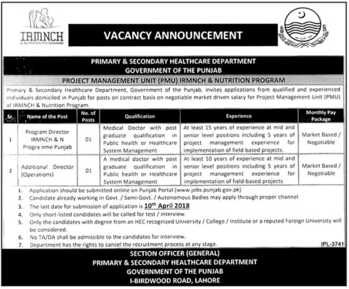 Jobs In Primary And Secondary Healthcare Department Punjab March 2018