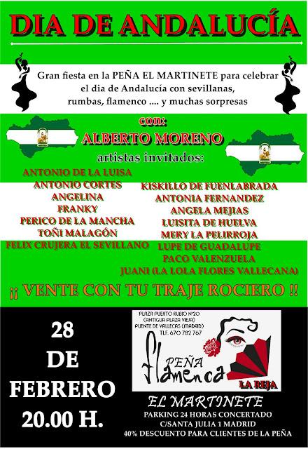 Cartel de El día de Andalucía en la Peña el Martinete