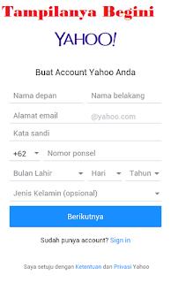 tatacara membuat akun email yahoo di android ataupun kompter