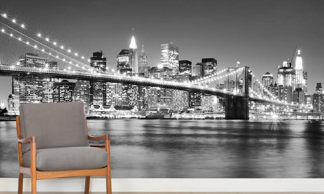 Maisematapetti Brooklyn Bridge New York Mustavalkoinen