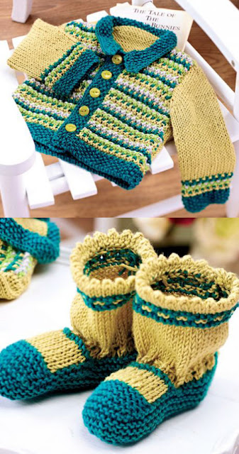 The Vintage Pattern Files: Free 1950s Style Knitting Pattern -  Baby's Cardigan & Bootie Set