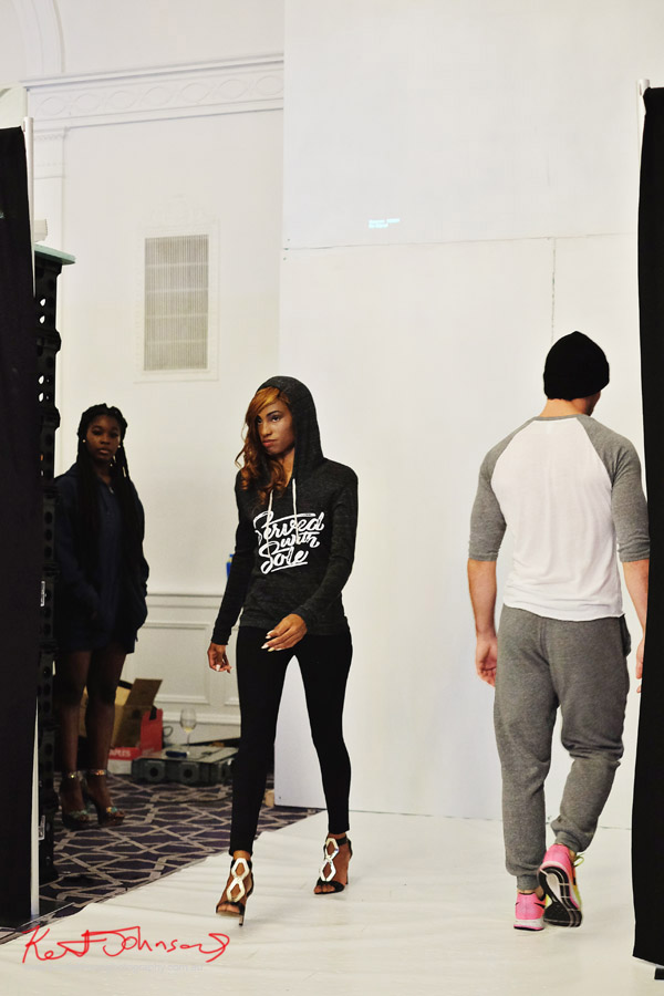 Women's hoodie, Streetwear Label Solemates Apparel at Bracé NYFW. Photographed by Kent Johnson.