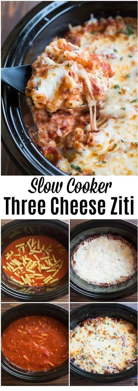 Slow Cooker Three Cheese Ziti