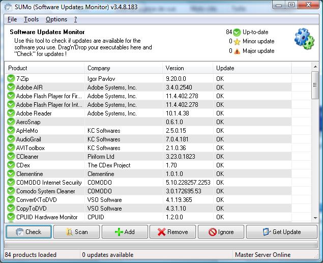 تحميل برنامج SUMo 3.7.4.207 للكشف عن تحديثات البرامج المثبته بجهازك بشكل تلقائى
