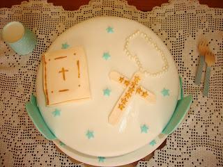 Vista cenital tarta comunión Hugo