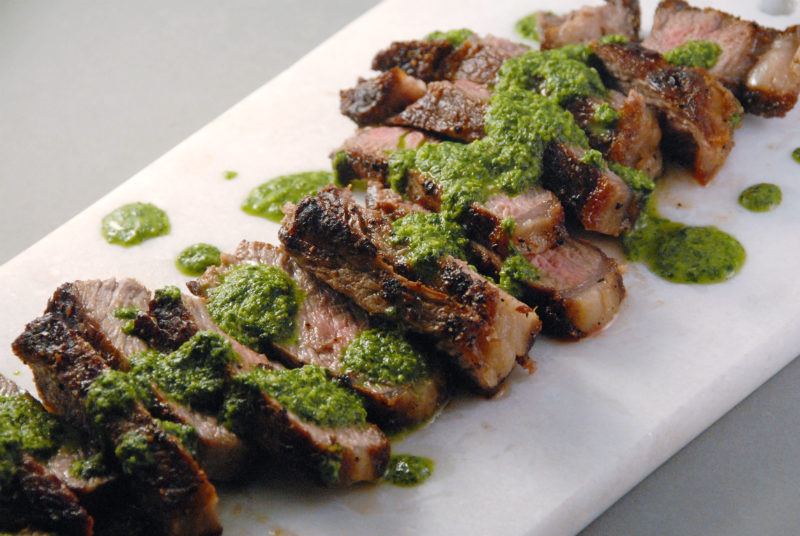 jalapeno chimichurri strip steak mashed cauliflower