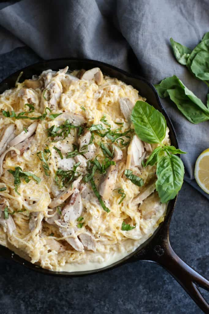 Dairy-free Spaghetti Squash Chicken Alfredo #healthy #whole30