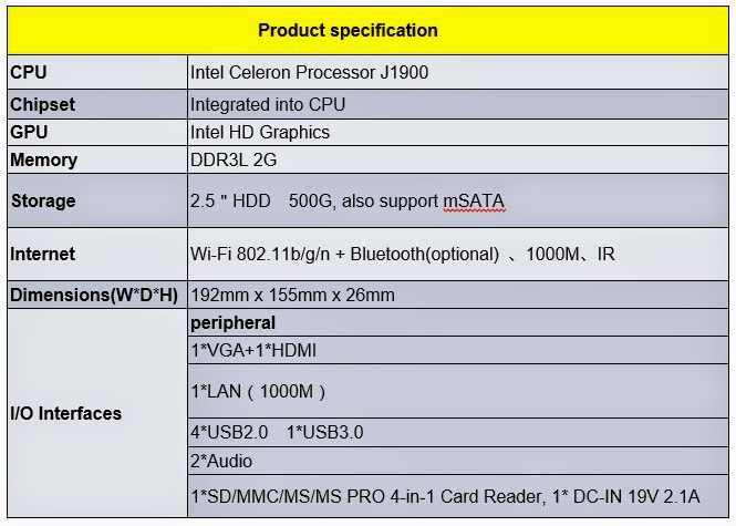 Giada I39 Mini-PC Product Specifications