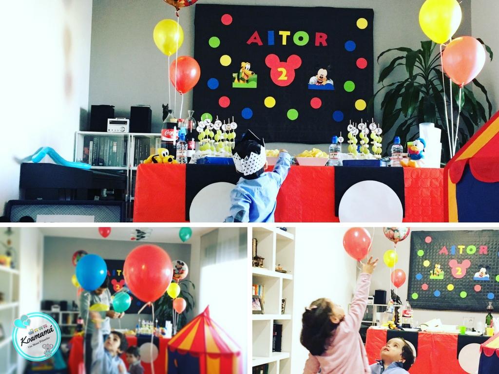 niños y globos con helio